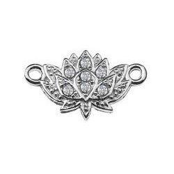 Zawieszka / Łącznik Kwiat lotosu z kamieniami Swarovski, srebro 925 S-CHARM 253