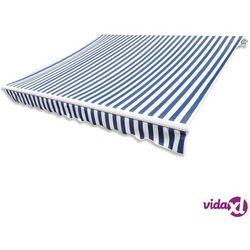 vidaXL Markiza przeciwsłoneczna biało-niebieskie płótno 3 x 2,5 m Darmowa wysyłka i zwroty