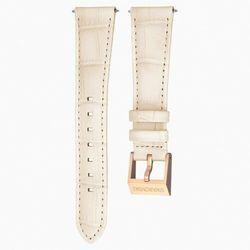 Pasek do zegarka 18 mm, skóra z obszyciem, beżowy, w odcieniu różowego złota