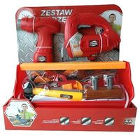 Narzędzia do majsterkowania, Playme - Zestaw narzędzi z wkrętarką, wyżynarką 23el. - czerwony