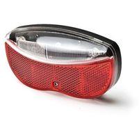 Oświetlenie rowerowe, Lampka rowerowa na bagażnik 3xLED 2xAA (w zestawie) z odblakiem czerwono-biała L-FE-3TL MACTRONIC