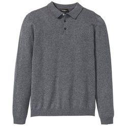 Sweter polo z dzianiny o gładkim splocie drobnych oczek bonprix szary melanż