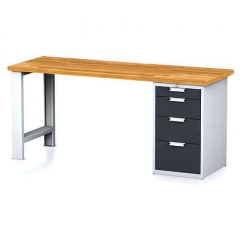 Stoły warsztatowe, Stół warsztatowy MECHANIC, 2000x700x880 mm, nogi regulowane, 1x szufladowy kontener, 4 szuflady, szary/antracyt