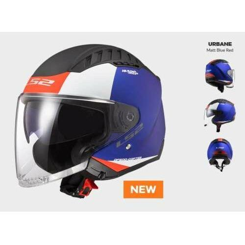 Kaski motocyklowe, KASK MOTOCYKLOWY KASK LS2 OF600 COPTER URBANE MATT BLUE RED - Nowość 2021 roku!