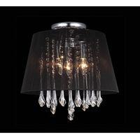 Lampy sufitowe, Plafon LAMPA sufitowa ISLA MXM1869-3 BL Italux abażurowa OPRAWA kryształowa glamour crystal czarna