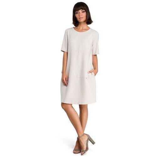 Suknie i sukienki, Beżowa Casualowa Sukienka Bombka przed Kolano