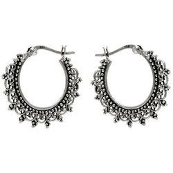 Eleganckie wiszące oksydowane srebrne kolczyki ażurowe koła kółka srebro 925 K2094