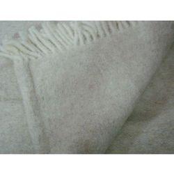 Koc wełniany jednobarwny z frędzlami beżowy
