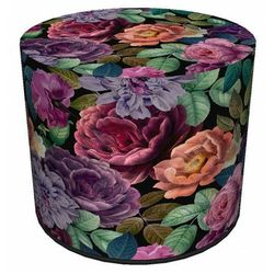 Okrągła tapicerowana zielono-różowa pufa w kwiaty - Matilda