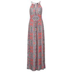 Długa sukienka bonprix pomarańczowy z nadrukiem