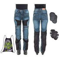 Spodnie motocyklowe damskie, Damskie jeansowe spodnie motocyklowe W-TEC Bolftyna, Niebieski-czarny, L