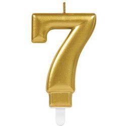 Świeczka cyferka złota siedem - 7