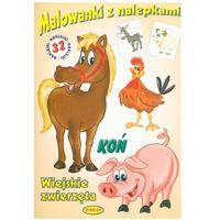 Książki dla dzieci, KOŃ WIEJSKIE ZWIERZĘTA MALOWANKI Z NALEPKAMI (opr. miękka)