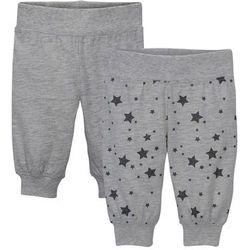 Spodnie niemowlęce z dżerseju (2 pary), bawełna organiczna bonprix naturalny melanż - szary w gwiazdy