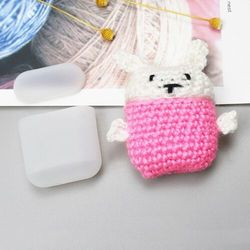 Silikonowe etui pudełeczko case na słuchawki AirPods 2gen / 1gen z wełnianą nakładką króliczek - 6