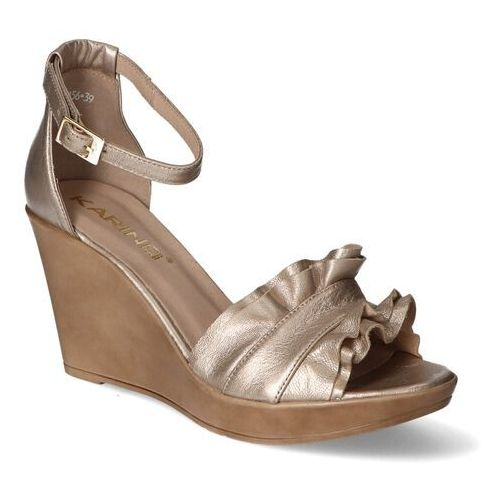 Sandały damskie, Sandały Karino 3156/074-P Złote lico