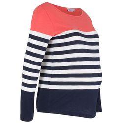 Shirt ciążowy, długi rękaw bonprix koralowo-biało-ciemnoniebieski w paski