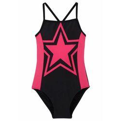 Kostium kąpielowy dziewczęcy bonprix czarno-różowy hibiskus