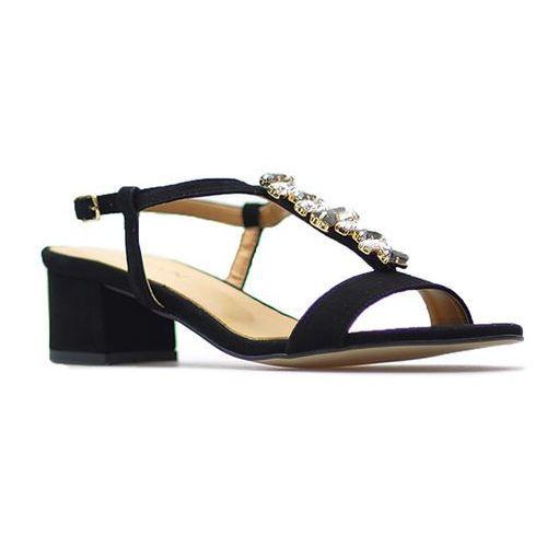 Sandały damskie, Sandały Sagan 52885 Czarne zamsz kamienie
