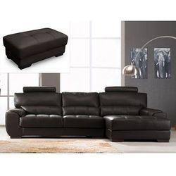 Sofa narożna i puf ze skóry METROPOLITAN II - Czekoladowy - Narożnik prawostronny