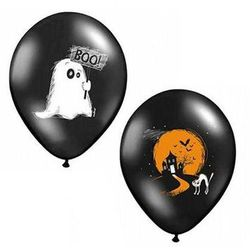 Balony czarne na Halloween - Duszek - 37 cm - 5 szt.