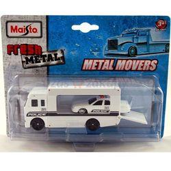 MAISTO Metal Movers - Ciężarówka transportowa Policja + samochód