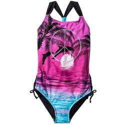 Kostium kąpielowy dziewczęcy bonprix różowo-czarny