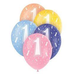 Balony pastelowe na roczek z cyferką 1 - 31 cm - 5 szt.