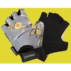 Rękawiczki dziecięce Daisy popielate wzór kwiaty XS