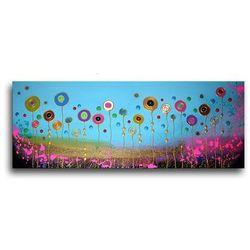 """obrazy nowoczesne """"łąka"""" ręcznie malowane w technice strukturalnej na podkładach 3D 60x150cm rabat 15%"""