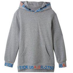 Dłuższa bluza z kapturem bonprix jasnoszary melanż