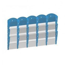 Plastikowy uchwyt ścienny na ulotki - 5x3 A5, niebieski