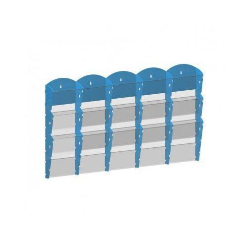 Ramy,stojaki i znaki informacyjne, Plastikowy uchwyt ścienny na ulotki - 5x3 A5, niebieski