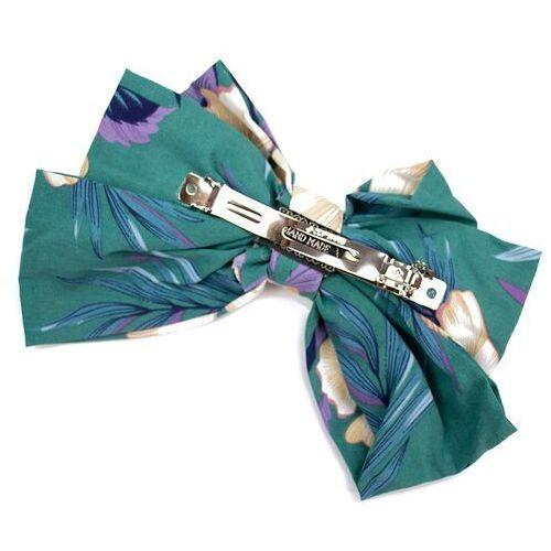 Pozostała biżuteria, Spinka do włosów kokarda zielona kwiaty duża