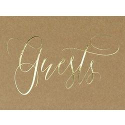 Księga gości,kraft ze złotym napisem Guests, 24x18,5 cm, 22 kartki - Księga gości,kraft ze złotym napisem Guests