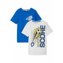 T-shirt chłopięcy (2 szt.), bawełna organiczna bonprix lazurowy niebieski - biały