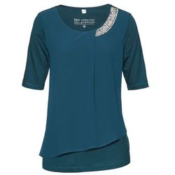 Shirt Premium z wstawką z tkaniny bonprix niebieskozielony morski