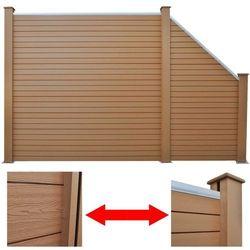 vidaXL Panele ogrodzeniowe: 1 kwadratowy i skośny, 283 cm, WPC, brąz Darmowa wysyłka i zwroty
