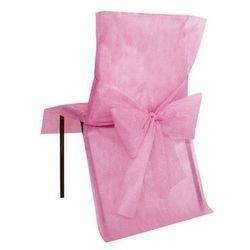 Pokrowiec na krzesło z kokardą - różowy - ślub - 1 szt.