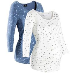 Shirt ciążowy z nadrukiem (2 szt.), bawełna organiczna bonprix niebieski dżins - biały z nadrukiem