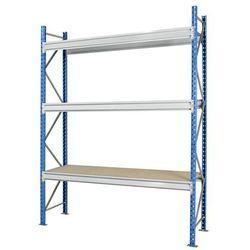 Regał o dużych półkach do dużych obciążeń, z nakładkami z płyty wiórowej, wys. x