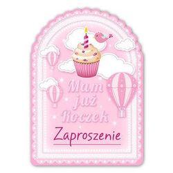 Zaproszenie na roczek różowe Babeczka - 1 szt.