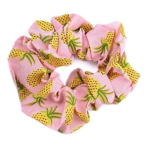 Pozostała biżuteria, Gumka do włosów ananasy scrunchies różowa frotka
