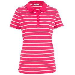 Shirt polo w paski, krótki rękaw bonprix różowy hibiskus - biały w paski