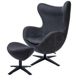 Fotel EGG SZEROKI BLACK z podnóżkiem ciemny szary.27 - wełna, podstawa czarna