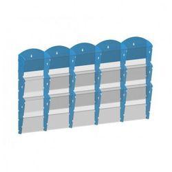 Plastikowy uchwyt ścienny na ulotki - 5x3 A4, niebieski