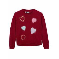 Sweter dziewczęcy w serduszka bonprix jeżynowo-czerwony