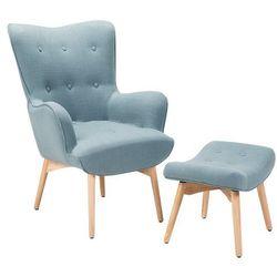 Fotel niebieski + pufa - fotel tapicerowany - krzesło - VEJLE