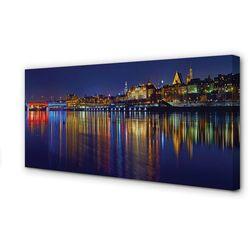 Obrazy na płótnie Warszawa Rzeka most noc miasto