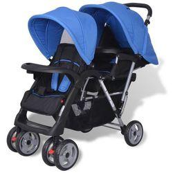 vidaXL Wózek spacerowy dla bliźniaków tandem niebieski i czarny Darmowa wysyłka i zwroty